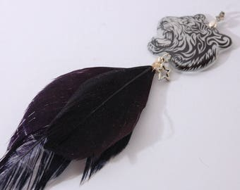 Tiger, feathers, black, Star pendant