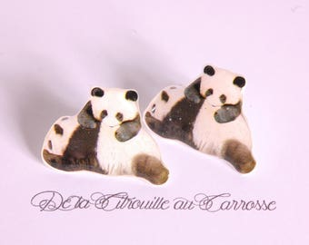 Kawaii Panda ear studs