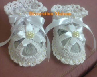 White baby dress beaded satin crochet sandal