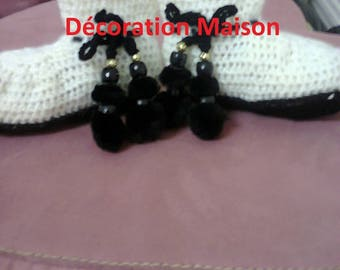 black and white crochet baby boots
