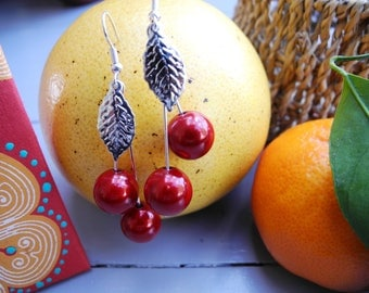 """Cherry"" red magic Pearl Earrings"