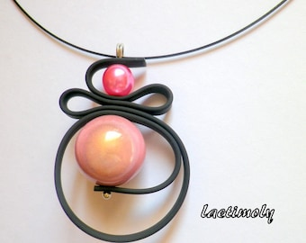 soft cable Choker necklace black and pink