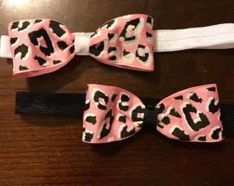 Pink Cheetah Bow Headband Set