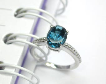 Natural london blue topaz ring sterling silver wedding ring.
