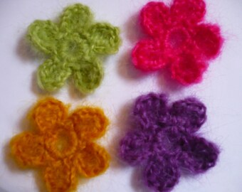 set of 4 flowers mohair, yellow, green, purple, pink