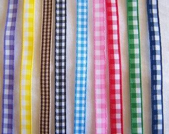Gingham, 7 mm wide ribbon