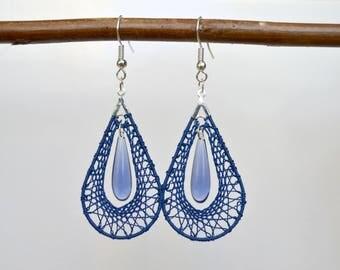 Drop earrings, Navy Blue, bobbin lace