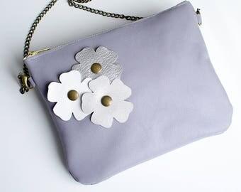 Pochette / sac Lina, avec bandoulière amovible - grise