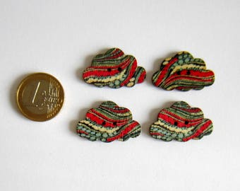 4 flat cloud waves pattern of red, gray bubbles 2-hole buttons