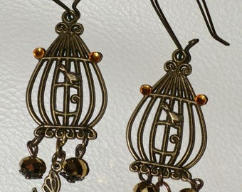 """bird cage"" earrings"