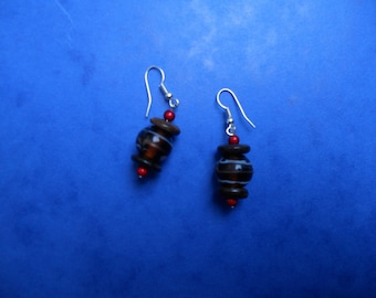 Pearl Earrings small brown candy red