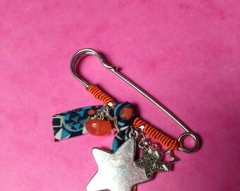 PIN fabric blue and orange tones