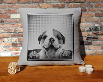 Bulldog Puppy  Pillow Cushion - 16x16in - Grey