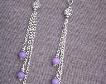 Dangle lilac Jade Mashan beads