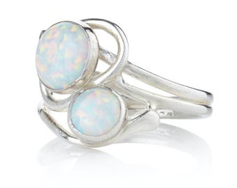 Silver and White Opal Ring