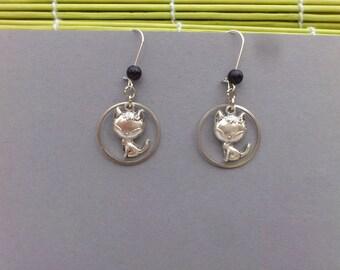 Fancy, Cute Kitten, black pearl earrings
