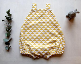 Baby romper baby boy, geometric triangles, mustard yellow, size 3 months