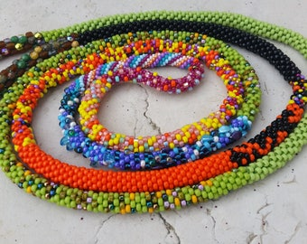 UNIQUE beaded long necklace - colorful and spring