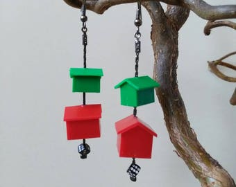 Recycling green hotels houses game pieces earrings Red