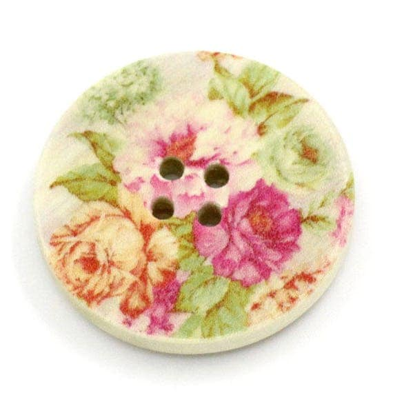 BBR30209 - 2 BUTTONS ROUND 30 MM WOODEN PATTERN WITH COLORS