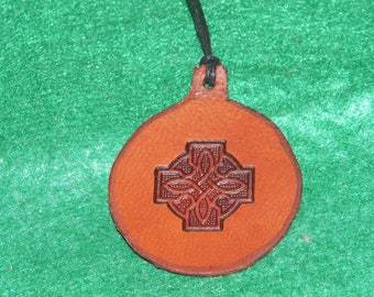 Leather with a Celtic cross design pendant