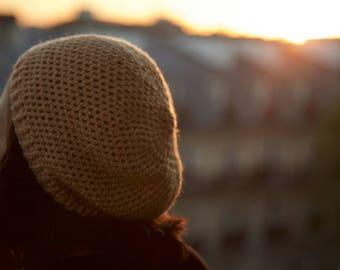 "Waist 56 cm acrylic Crochet hat ""Seaside"" straw n4"