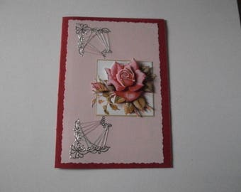 20 - Greeting card embroidered with a red rose in 3d