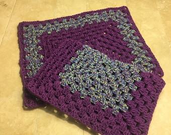 Rectangle crochet trivet set of 2