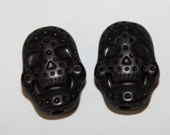 Skull double-sided, black, 15 * 20 mm, the pair