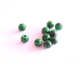 Stone Malachite 4 mm, set of 10 seed beads