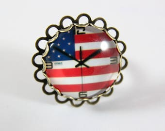 Ring cabochon 25 mm, Uncle Sam