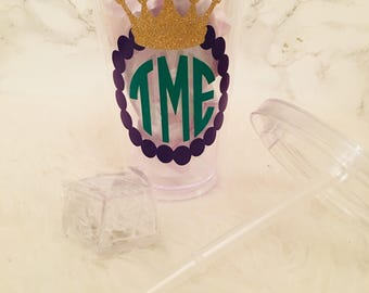 Monogram Mardi Gras Crown- Blinking Cup