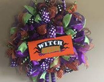 Witchy wreath, Halloween wreath, witch wreath, witch legs hanging