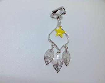 Pair of enamel and silver leaf earrings star