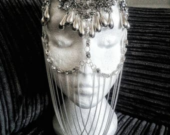 Custom Arabian Veil Burning Man Mask Face Chain Masquerade Burlesque Belly Dancer Crystals Head Piece Jewellery Jewelry Harem