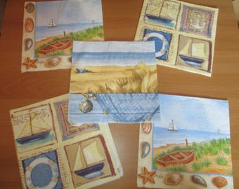 lot 5 towels marine sea theme