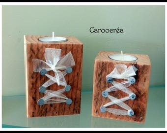 Set of 2 original pine wood candle holder