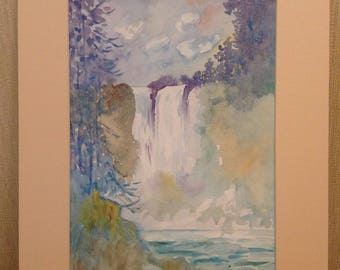 Magic waterfall watercolor drawing