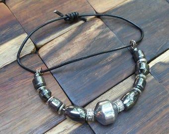 Adjustable Hematite and Silvertone Bracelet