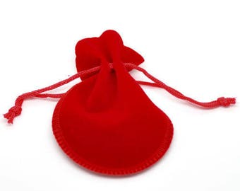 5 bags bags clutch gift Velvet red 9cm x 7.5 cm