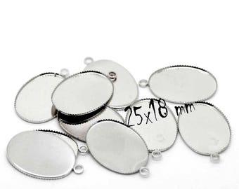25 x 18 mm set of 30 silver cabochons connectors stick