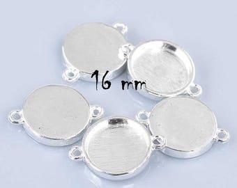 16 mm set of 30 silver cabochons connectors stick