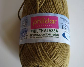 Pincushion cotton 50 g Phil Thalassa of Phildar - color Olive - 4 needles