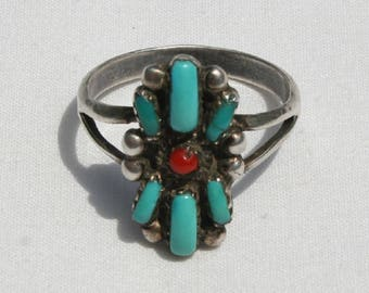 Vintage Navajo Turquoise and Coral Silver Ring Size 10.25