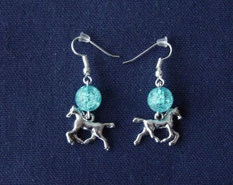 Horse 3D ice blue ball earrings
