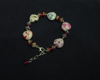 Bracelet Vintage hearts, rhinestones and pearls