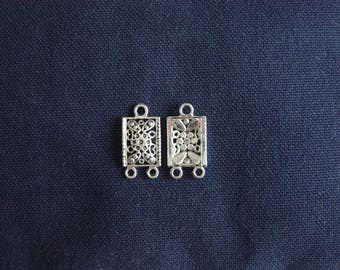 2 charms - Connectors silver Rectangles