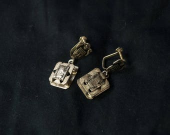Mayan Figural Sterling Silver Clip-On Earrings