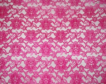 "60"" Wide - FUCHSIA Lace Fabric - Floral Raschelle Lace - By The Yard"