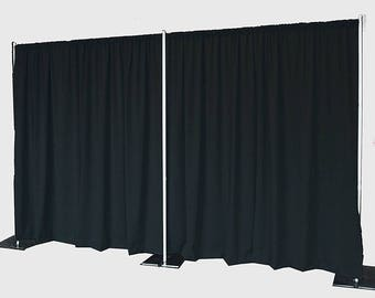 5feet x 8feet BLACK Polyester Fabric Backdrop Background Drapes for Pipe and Drape